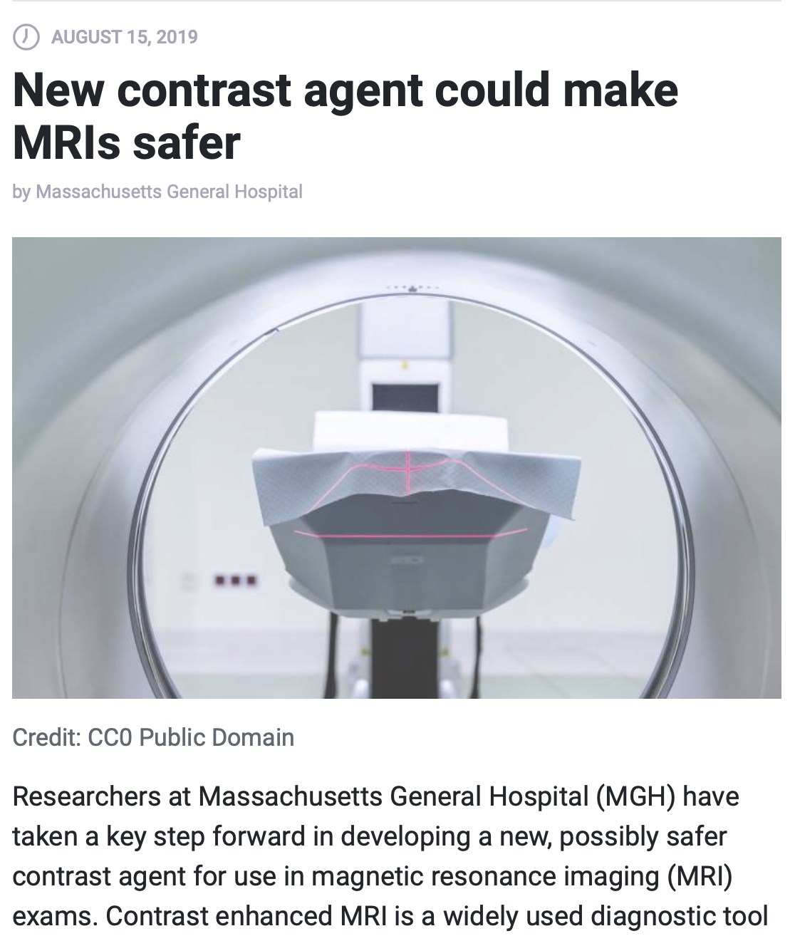 MGH: New contrast agent could make MRIs safer